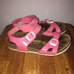 7b55d5f6b5de Birkenstock Shoes - Girls Birkenstock Pink Sparkly Sandals Size 33